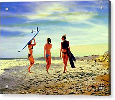 Surfer Girls  Acrylic Print by Kevin Moore