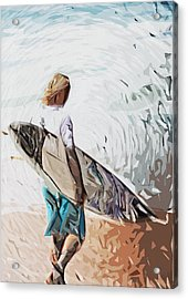 Surfer Acrylic Print by Tilly Williams
