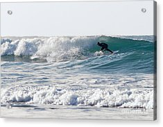 Surfers At Porthtowan Cornwall Acrylic Print by Brian Roscorla