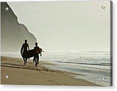 Surfers Acrylic Print by Daniel Kulinski