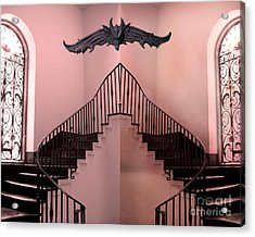 Surreal Fantasy Gothic Gargoyle Over Staircase Acrylic Print by Kathy Fornal