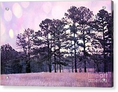 Surreal Fantasy Nature Purple Trees Landscape Acrylic Print by Kathy Fornal