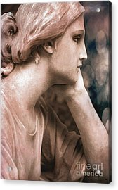 Surreal Female Face Dreamy Contemplation  Acrylic Print by Kathy Fornal