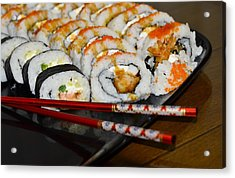 Sushi And Chopsticks Acrylic Print by Carolyn Marshall