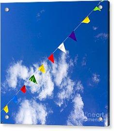 Suspended Festive Flags. Acrylic Print by Bernard Jaubert