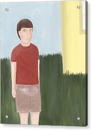 Suspicous Boy In Red Shirt Acrylic Print by Sarah Countiss