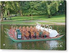 Swan Boat In Boston Public Garden Acrylic Print by Clarence Holmes