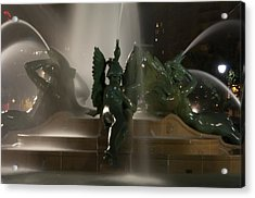 Swann Fountain At Night Acrylic Print by Bill Cannon