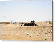 T-55 Tanks Destroyed By Nato Forces Acrylic Print by Andrew Chittock