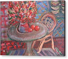 Table With Flowers And Chair Acrylic Print by Anne-Elizabeth Whiteway