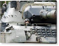 Tank Driver Of A Belgian Leopard 1a5 Acrylic Print by Luc De Jaeger