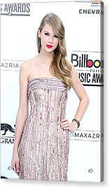 Taylor Swift Wearing An Elie Saab Gown Acrylic Print by Everett