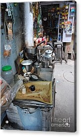 Tea Stall Acrylic Print by Jen Bodendorfer