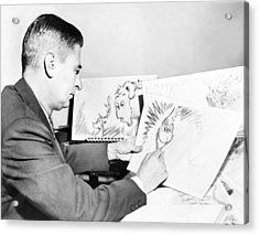 Ted Geisel Dr. Seuss 1904-1991 At Work Acrylic Print by Everett