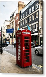 Telephone Box In London Acrylic Print by Elena Elisseeva