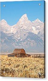 Teton Mormon Barn Acrylic Print by Bob and Nancy Kendrick