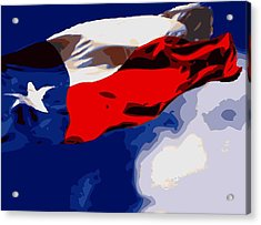 Texas Flag In The Wind Color 16 Acrylic Print by Scott Kelley