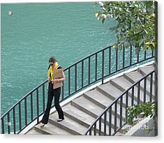 Texting As She Goes Acrylic Print by Ann Horn