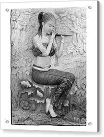 Thai Style Bas-relief Decorated On  Wall  Acrylic Print by Phalakon Jaisangat