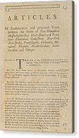 The Articles Of Confederation. First Acrylic Print by Everett