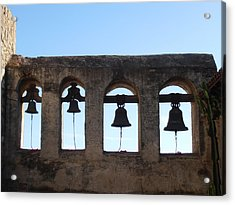 The Bells At The San Juan Capistrano Mission Acrylic Print by Pat Cannon