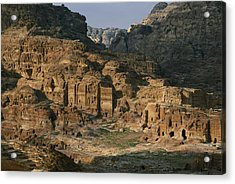The Caves And Tombs Of Petra, Shown Acrylic Print by Annie Griffiths