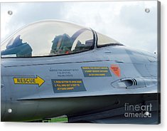 The Cockpit Of An F-16 Fighting Falcon Acrylic Print by Luc De Jaeger