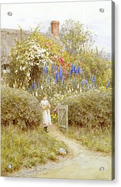 The Cottage Gate Acrylic Print by Helen Allingham
