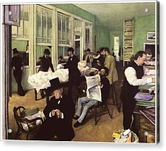 The Cotton Market In New Orleans Acrylic Print by Edgar Degas