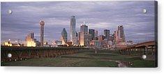 The Dallas Skyline At Dusk Acrylic Print by Richard Nowitz