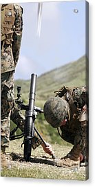 The Direct-lay Method Of Firing Mortars Acrylic Print by Stocktrek Images