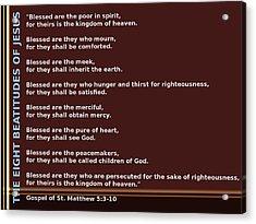 The Eight Beatitudes Of Jesus Acrylic Print by Ricky Jarnagin