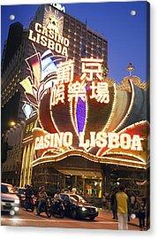 The Facade Of The Casino Lisboa Acrylic Print by Justin Guariglia