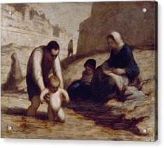 The First Bath  Acrylic Print by Honore Daumier