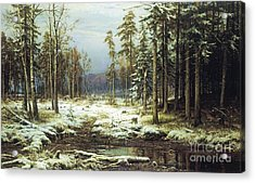 The First Snow Acrylic Print by Pg Reproductions