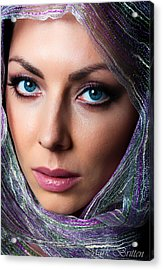 The Girl In The Head Scarf Acrylic Print by Mark Britten