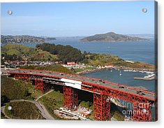 The Golden Gate Bridge North Side Overlooking Angel Island And Tiburon And Horseshoe Bay . 7d14494 Acrylic Print by Wingsdomain Art and Photography