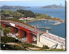 The Golden Gate Bridge North Side Overlooking Angel Island And Tiburon And Horseshoe Bay . 7d14540 Acrylic Print by Wingsdomain Art and Photography