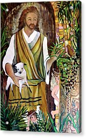The Good Shephard At The Door Acrylic Print by Mindy Newman