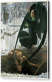 The Grave Digger's Death Acrylic Print by Carlos Schwabe