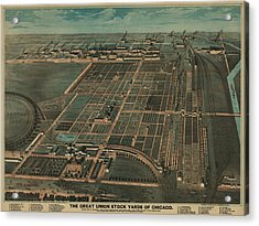 The Great Union Stock Yards Of Chicago Acrylic Print by Everett