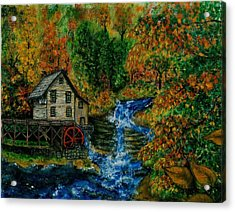 The Grist Mill In Autumn Acrylic Print by Tanna Lee M Wells