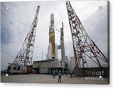 The H-iib Rocket On The Launch Pad Acrylic Print by Stocktrek Images
