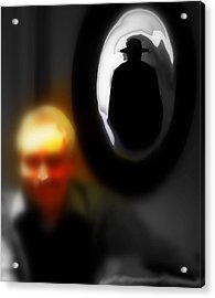 The Hat Man Is Watching Acrylic Print by Carmen Cordova