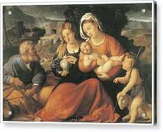 The Holy Family And Mary Magdalene Acrylic Print by Palma The Elder