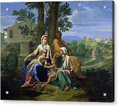 The Holy Family With Ss John Elizabeth And The Infant John The Baptist Acrylic Print by Nicolas Poussin