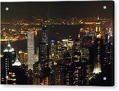 The Hong Kong Skyline Seen Acrylic Print by Justin Guariglia