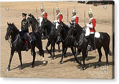 The Household Cavalry Performs Acrylic Print by Andrew Chittock