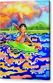 The Kayak Racer 12 Acrylic Print by Hanne Lore Koehler