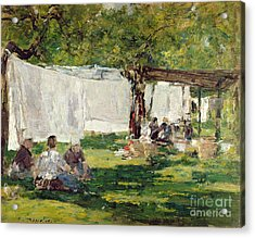 The Laundry At Collise St. Simeon  Acrylic Print by Eugene Louis Boudin